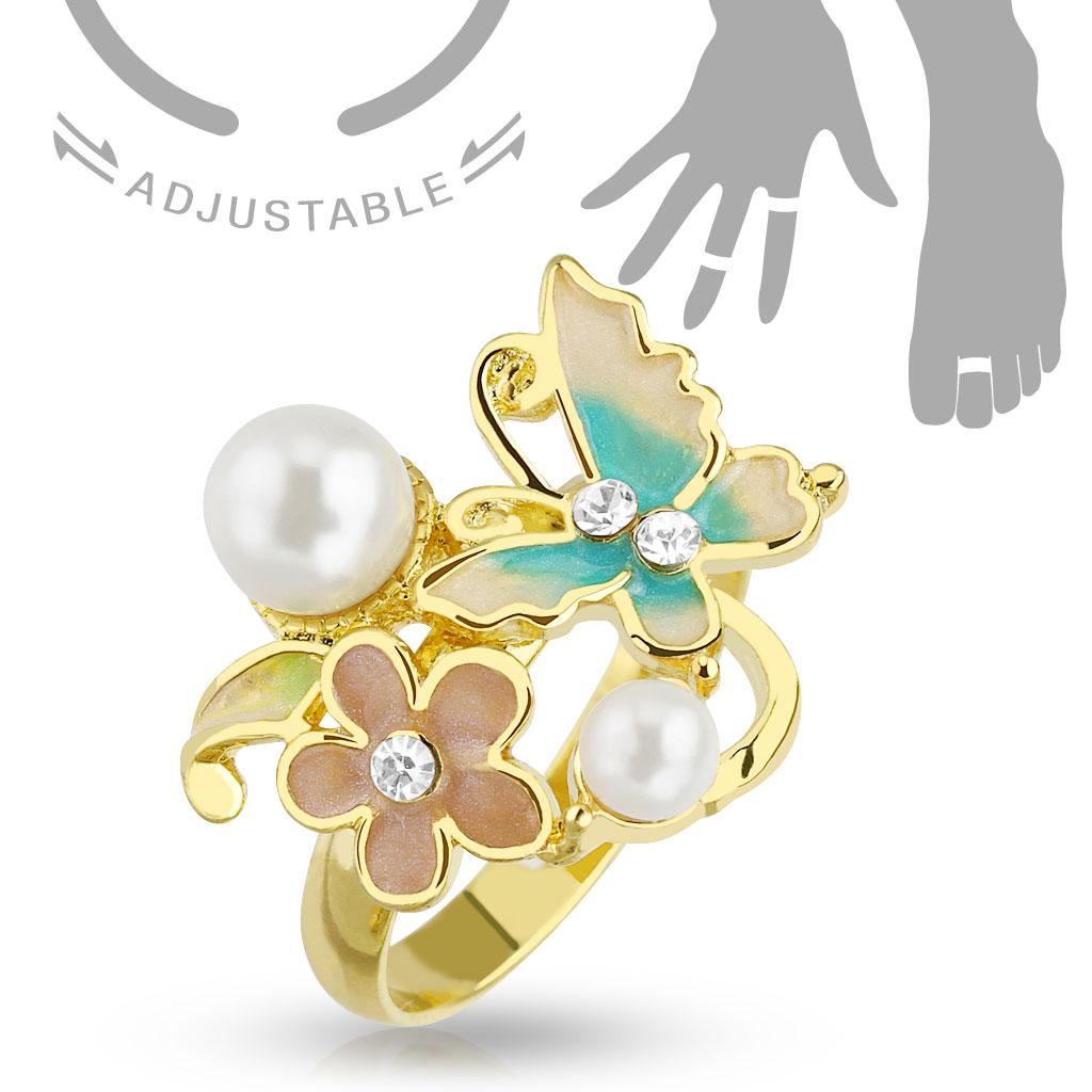 Flower CZ with Pearl Adjustable Gold Plated Brass Mid-Ring