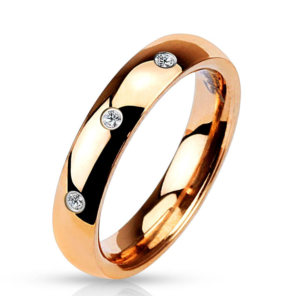 3 CZ Set Classic Dome Rose Gold IP 316L Stainless Steel Ring