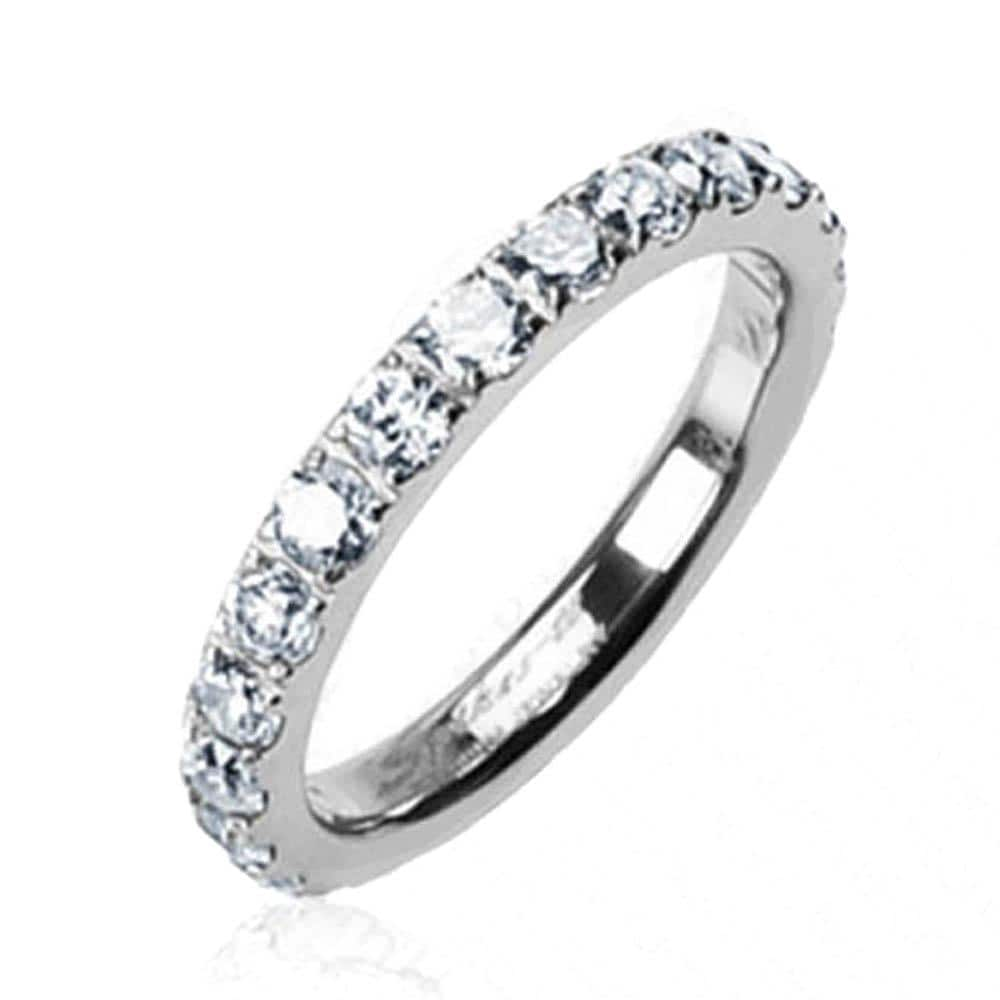 Solid Titanium with Round CZs All Around Band Ring