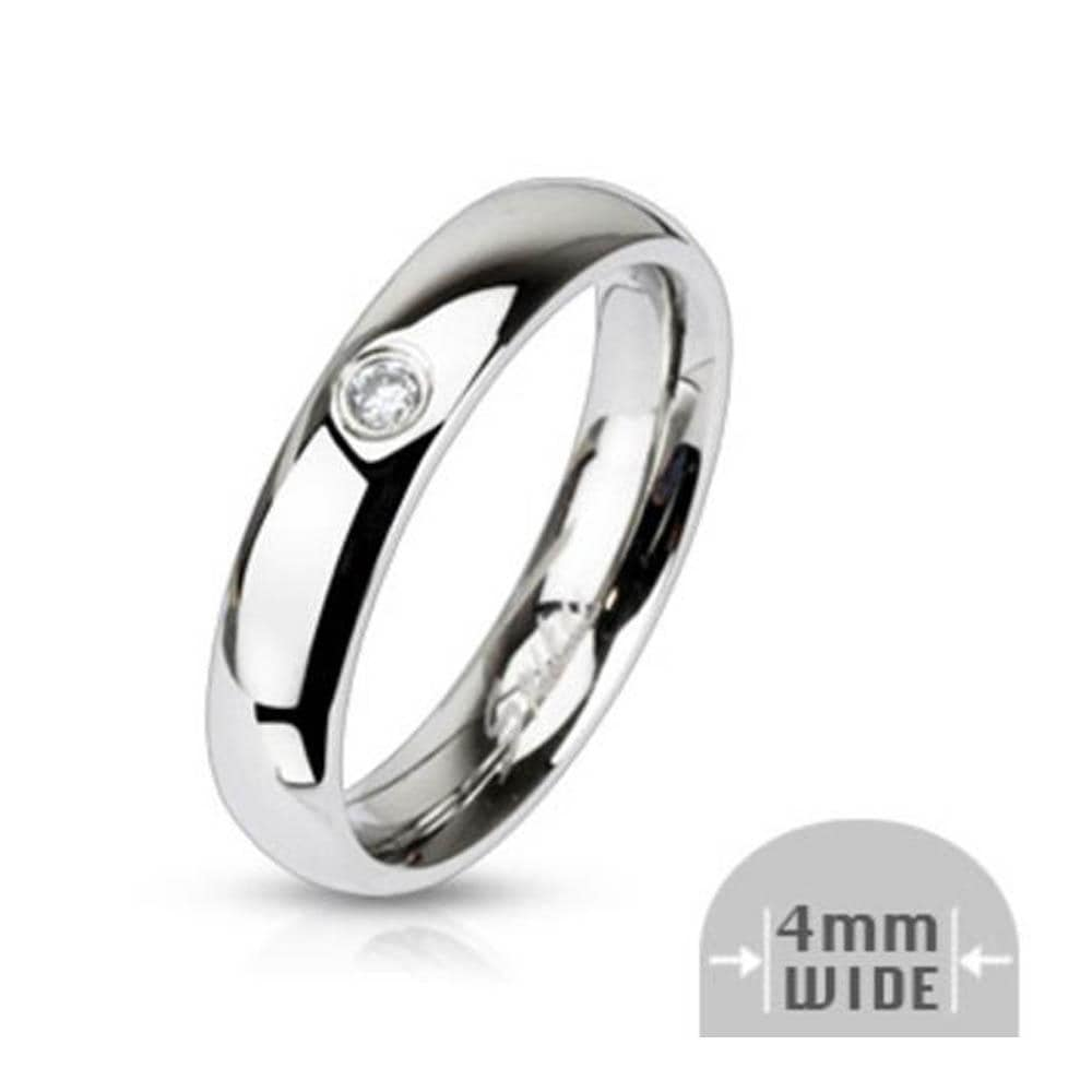 Stainless Steel Single CZ 4mm Wide Classic Band Ring