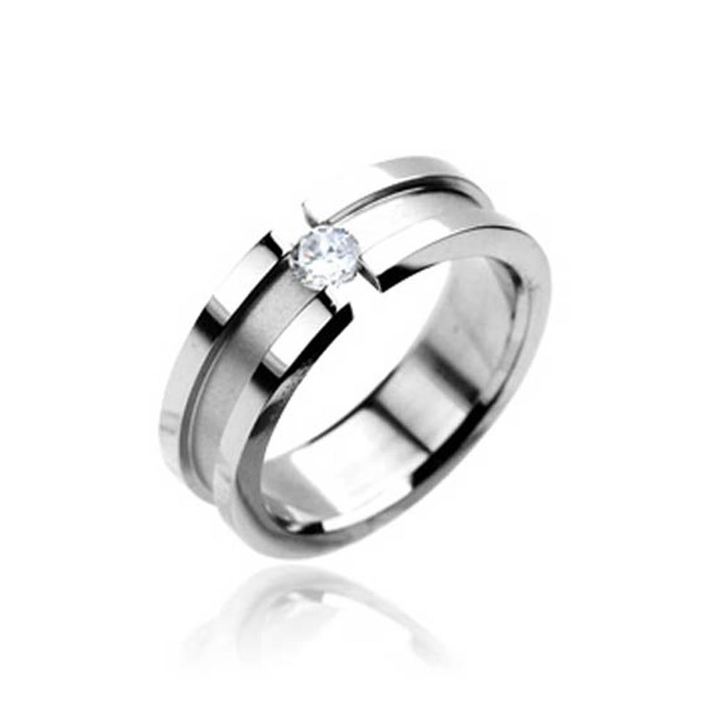 Stainless Steel Ring with CZ Center