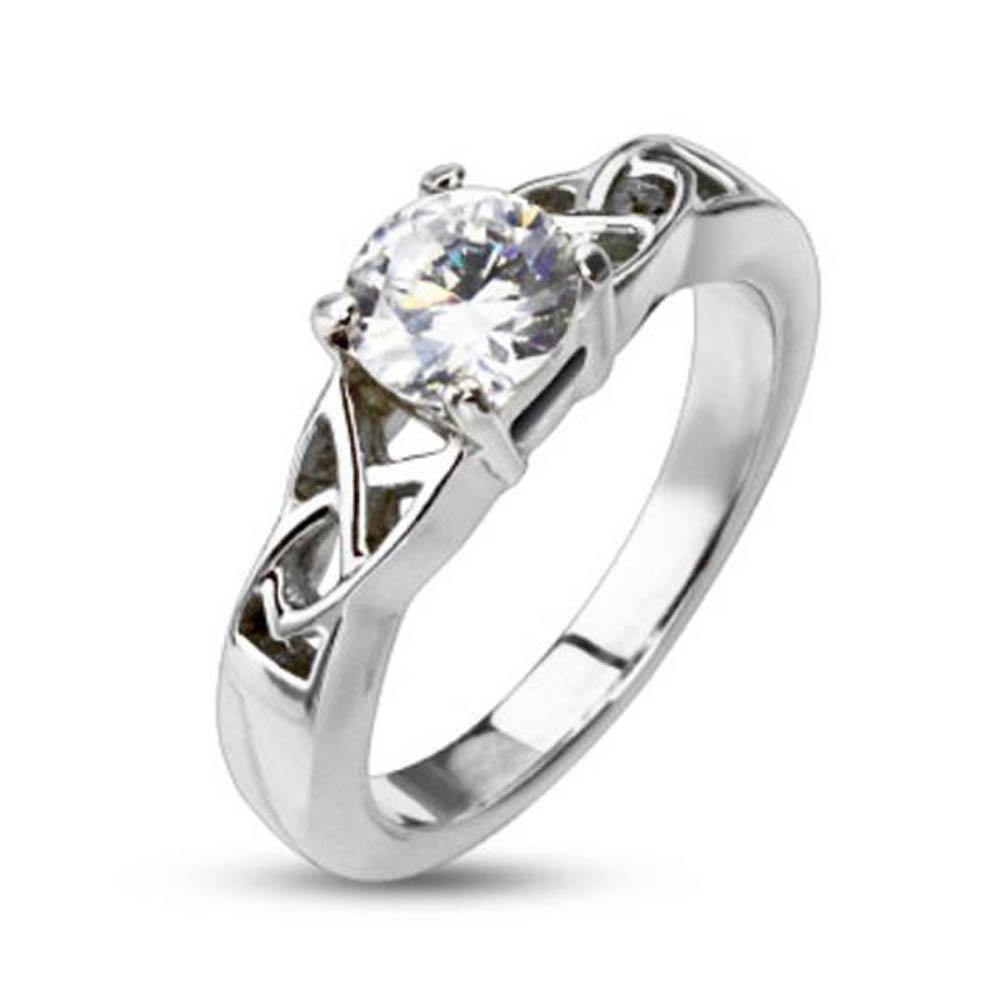 Stainless Steel Clear CZ Solitaire Prong-Set with Knoted Frame Ring