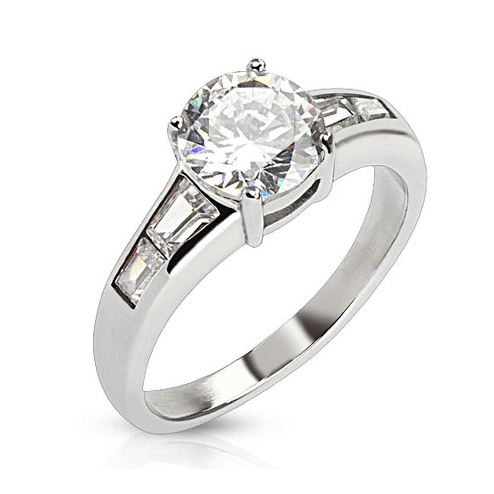 Round Cut CZ Ring with Emerald cut CZ wings Stainless Steel