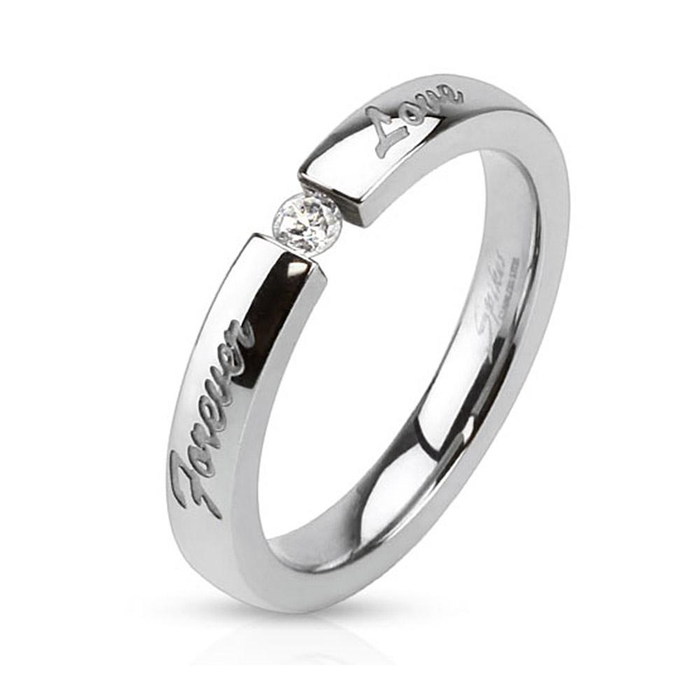 'Forever Love' Engraved Stainless Steel Band Ring with 3mm Tension set CZ