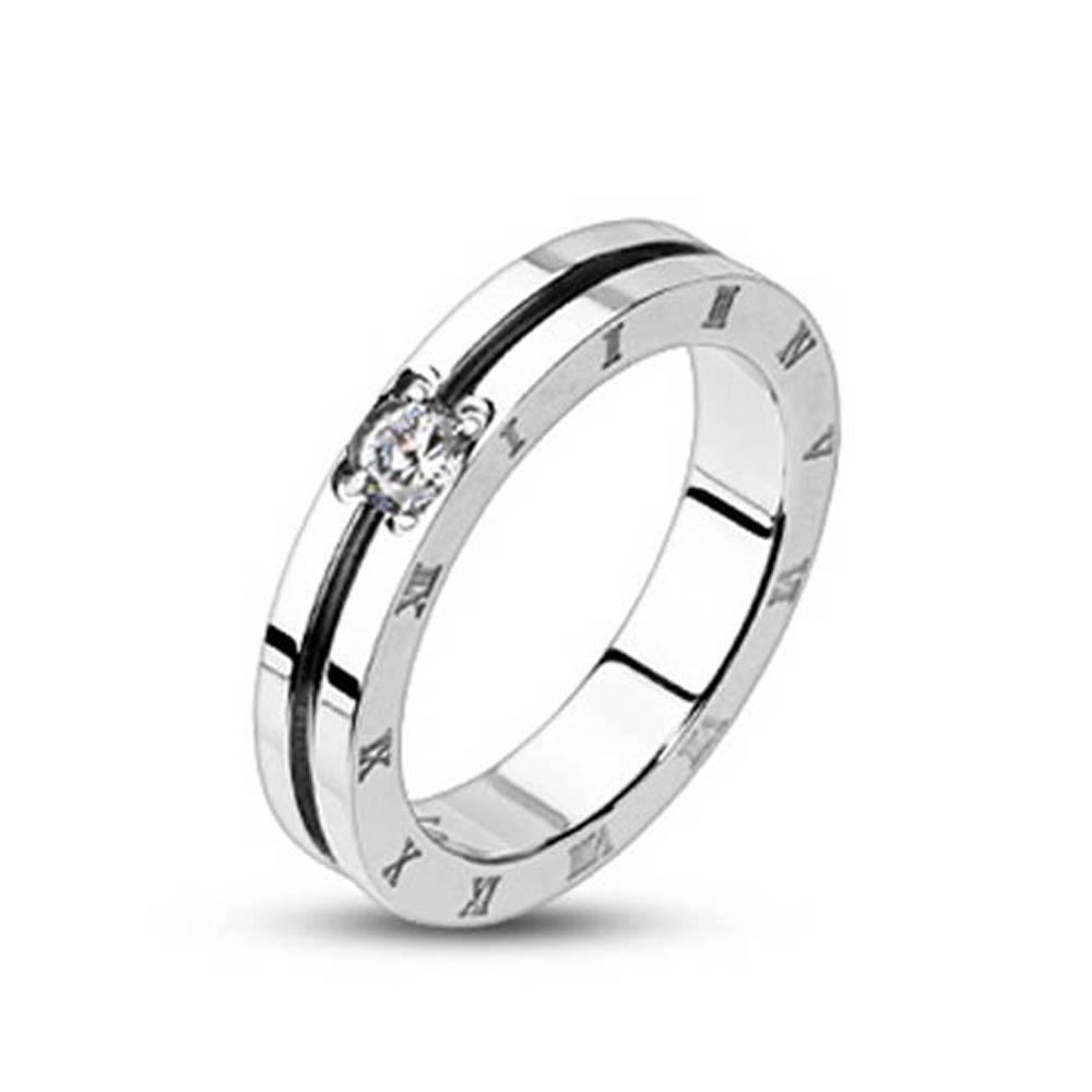 Stainless Steel Grooved Center with Clear CZ Engraved Roman Numeral Side Band Ring