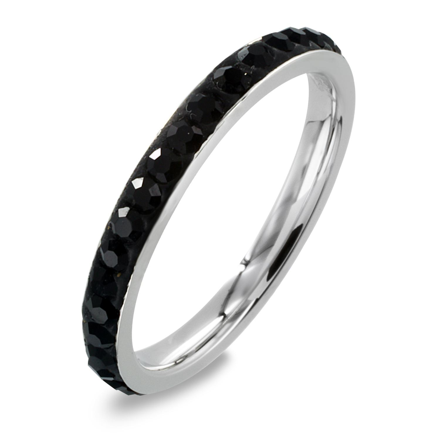 Women's Stainless Steel Black Cubic Zirconia Eternity Ring (2.5 mm)