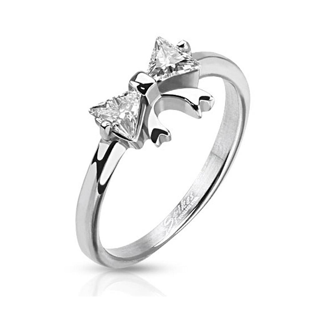 Ribbon with Double Pronged Trilliant Cut CZ Stainless Steel Ring