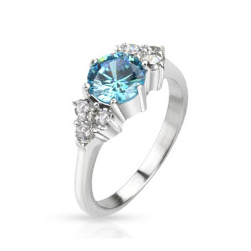 Stainless Steel Large Sea Blue CZ with Multi CZ on Side Prong Set Band Ring
