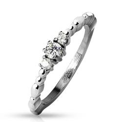 Linked 3 CZ Center Beaded Side Stainless Steel Ring - Thumbnail 0