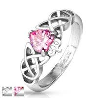 Tribal Heart and Crown with CZ Stainless Steel Ring