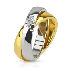 Cross with Paved CZ Combination of Gold IP Band Stainless Steel Ring - Thumbnail 0