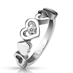 Linked Heart with Clear CZ Stainless Steel Ring - Thumbnail 0