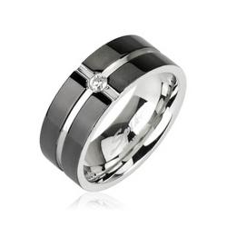 Stainless Steel Ring with Layered Crossing Black Plated with CZ Center