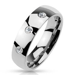 3 CZ Set Classic Dome 316L Stainless Steel Ring (Option: 11)