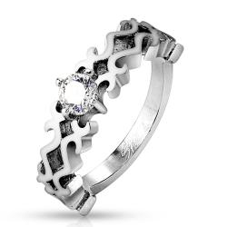 Elaborate Design CZ Center Stainless Steel Ring - Thumbnail 0
