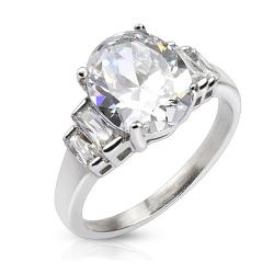 Oval Cut CZ Ring with 4 square CZ wings Stainless Steel - Thumbnail 0