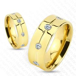Gold IP with Clear CZ Titanium Ring - Thumbnail 0