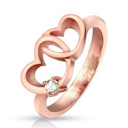 Linked Hearts Single CZ Rose Gold IP Stainless Steel Ring - Thumbnail 0