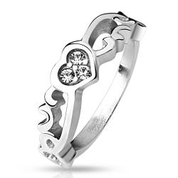 Vintage Heart with 3 CZ Stainless Steel Ring - Thumbnail 0