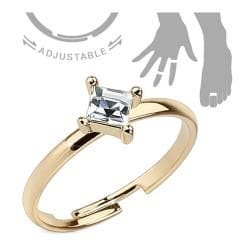 Single Pronged Square CZ Adjustable Brass Mid-Ring/Toe Ring - Thumbnail 0