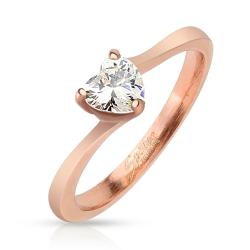 Heart CZ Rose Gold IP Stainless Steel Ring (4 options available)