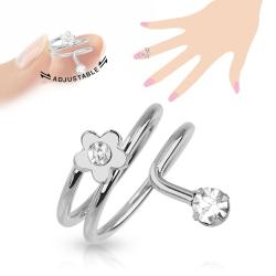 Flower CZ Adjustable Rhodium Plated Brass Nail Ring - Thumbnail 0