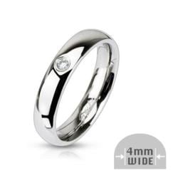 Stainless Steel Single CZ 4mm Wide Classic Band Ring - Thumbnail 0