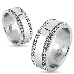 Two Lined CZ Edges Stainless Steel Couple Ring