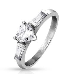 Heart CZ and Princess Cut CZ Stainless Steel Ring - Thumbnail 0