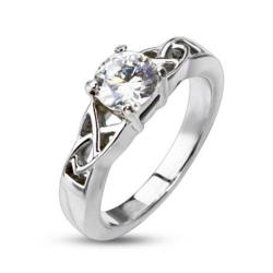 Stainless Steel Clear CZ Solitaire Prong-Set with Knoted Frame Ring - Thumbnail 0