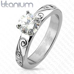 Filigree Engraved with Round Cut CZ Engagement Titanium Ring