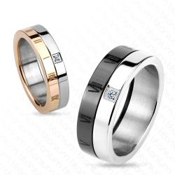 Roman Number with CZ Solid Titanium Couple Ring