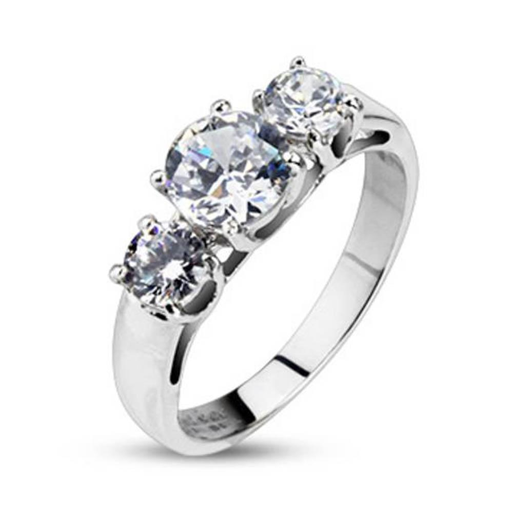 Stainless Steel Clear Round CZ Triple Prong-Set Ring