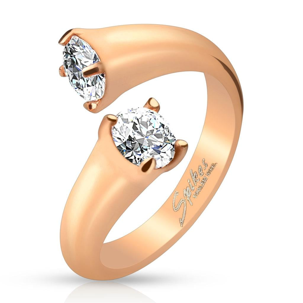 Prong CZ Ends Rose Gold IP Stainless Steel Ring
