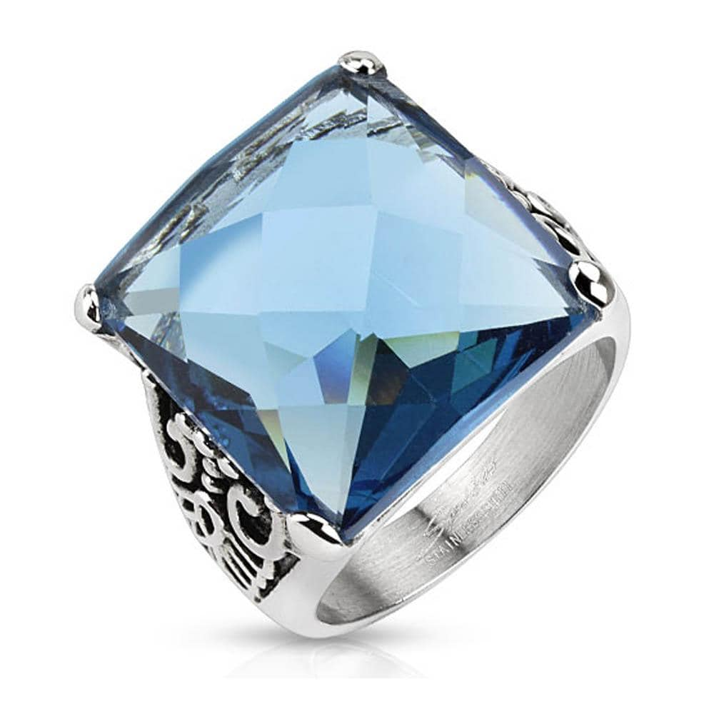 Decorative Leaf with Ocean Blue Square Cut CZ Cast Stainless Steel Ring
