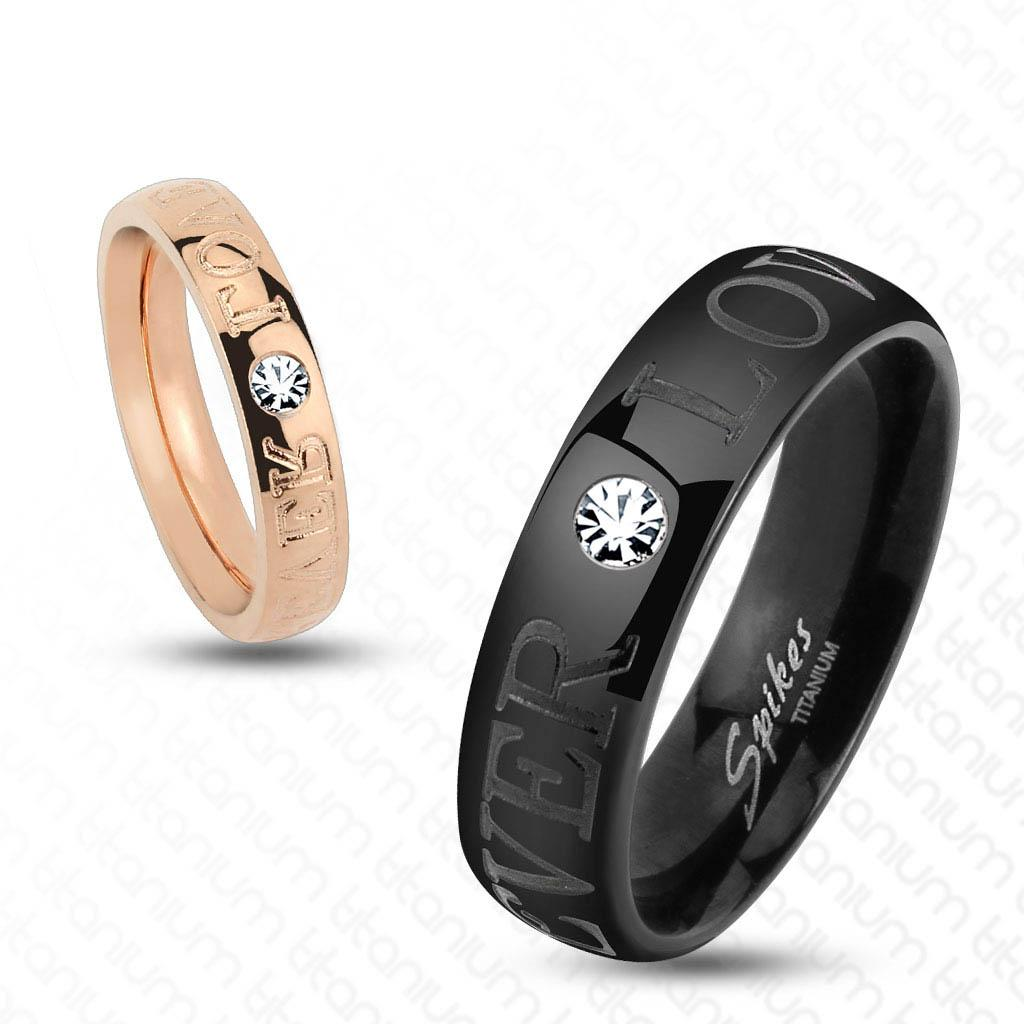Forever Love with CZ Solid Titanium Couple Ring