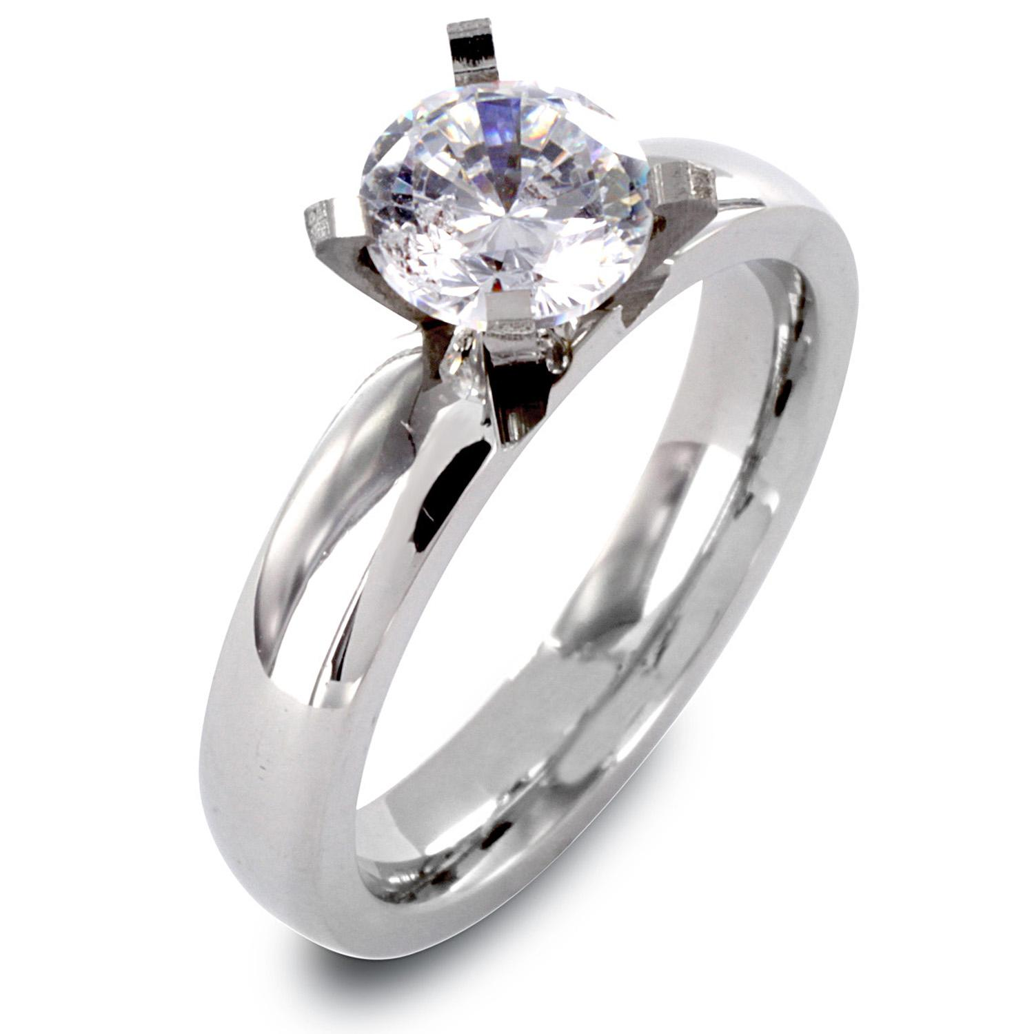 Stainless Steel Clear CZ Solitaire Prong Set Ring