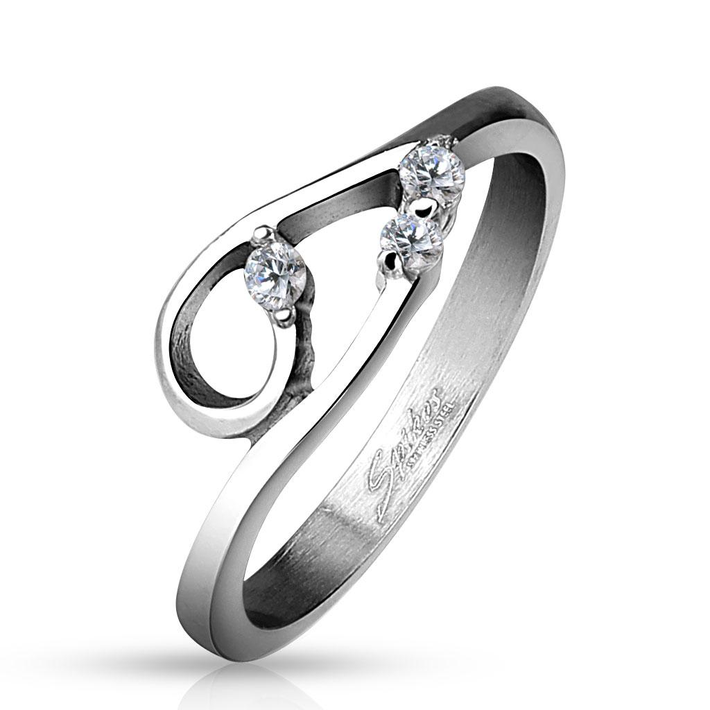 Double Curve with Three Clear CZs Stainless Steel Ring