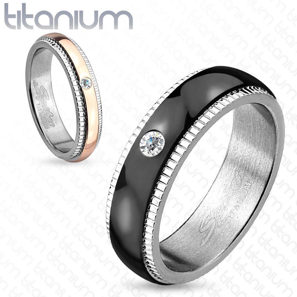 Grooved Step Edge Solitaire CZ Titanium Couple Ring