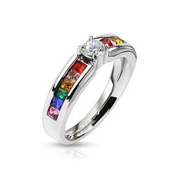 Clear Center Gem and Rainbow CZs Stainless Steel Engagement Band Ring