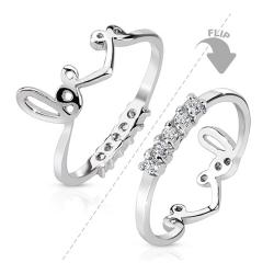Two Way Love Crown with String of CZs Rhodium Plated Brass Mid-Ring - Thumbnail 0