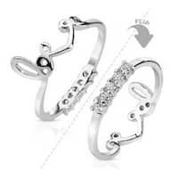 Two Way Love Crown with String of CZs Rhodium Plated Brass Mid-Ring