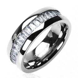 Solid Titanium with Square CZ Stone Band Ring