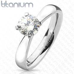 Round Cut Solitaire CZ Titanium Engagement Ring - Thumbnail 0