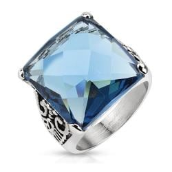 Decorative Leaf with Ocean Blue Square Cut CZ Cast Stainless Steel Ring - Thumbnail 0