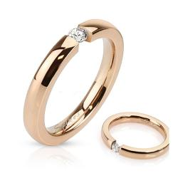 3mm Tension Set CZ Rose Gold IP Stainless Steel Band Ring - Thumbnail 0
