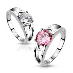 Stainless Steel CZ Solitaire Prong-Set Hollow Ring - Pink CZ