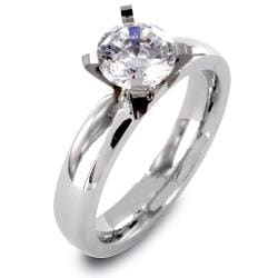Stainless Steel Clear CZ Solitaire Prong Set Ring - Thumbnail 0