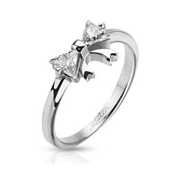 Ribbon with Double Pronged Trilliant Cut CZ Stainless Steel Ring - Thumbnail 0