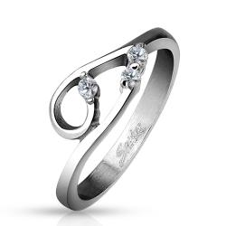 Double Curve with Three Clear CZs Stainless Steel Ring - Thumbnail 0